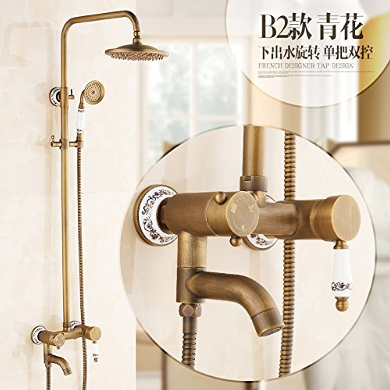 GFEI Antique shower set   full copper bath, hot and cold retro faucet, shower nozzle,B2
