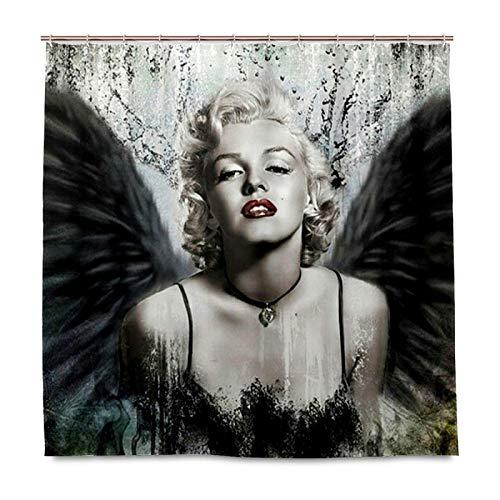 N \ A Marilyn Monroe Duschvorhang für Badezimmer, Heimdekor-Set mit 12 Haken, Polyester-Stoff, maschinenwaschbar, wasserdicht, Duschvorhänge - 152,4 x 182,9 cm