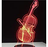 Guitarra Jazz Drum Set Modelado 3D Led Nightlight Música Usb Lámpara de escritorio Decoración del hogar Iluminación Regalo Luminaria 7 colores que cambian Sin controlador
