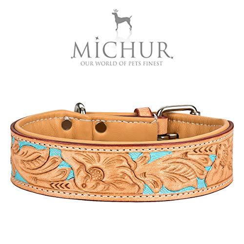 MICHUR Mariano Hundehalsband Leder, Lederhalsband Hund, Halsband, Beige Blau Braun, Leder, mit gestanzten blumigen Mustern, Halsumfang 47-54cm / Gesamtlänge 60cm