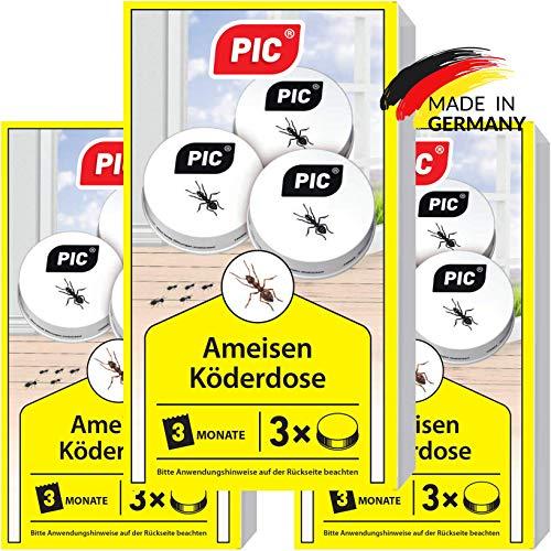 PIC - Ameisenköder Dose - 3x3 = 9 Dosen – Ameisenköder für Innen, Terrasse, Balkon und Keller– Bekämpft das ganze Ameisennest