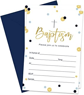 Boys Baptism Invitations and Envelopes (15 Pack) Christening Party Babies Baptismal Celebration Religious Ceremony Fill In Blank Invite Cards Navy and Gold