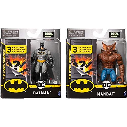 DC Comics Batman 2 Figuren - Set Batman und Man - Bat mit tollem Zubehör - Maßstab 10cm - Figuren