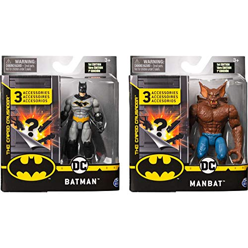 BATMAN 6055854 - Batman 2 Figuren - Set Batman und Man - Bat mit tollem Zubehör - Maßstab 10cm - Figuren