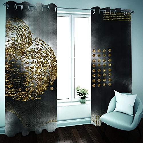 Empty 3D Blackout Vorhänge Ring Top Ink Painting Superweiche wärmeisolierte energiesparende Vorhänge Verdunkelungsfenstervorhang für Kinder Schlafzimmer Wohnzimmer -168 * 228 cm x 2