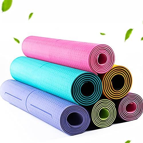 Taosheng Esterilla de yoga de 6 mm para principiantes, antideslizante, almohadilla de ejercicio con línea de posición para el hogar, fitness, gimnasia, pilates (color: color al azar)