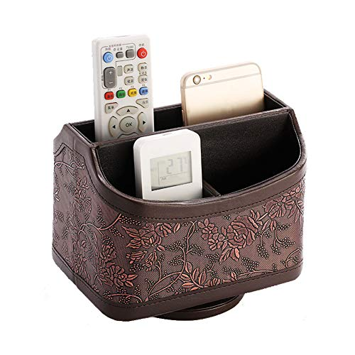 Daixers Remote Control Holder 360 Degree Rotatable PU Leather Storage Container for TV Remote Phone Caddy Eyeglasses Desk Organizer?Rectangle Brown ?