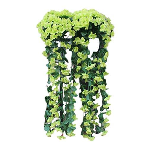 Künstlich Hängende Blumen Sannysis Violette Blumen-Wand-Glyzinien-Korb-hängende Girlande-Rebe blüht Gefälschte Silk Orchidee Bunte Kunstblumen Grün