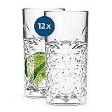 SAHM Gläser Set 12 teilig 450ml | Trinkgläser Set | Timeless Wassergläser Set | Tolle Gin Gläser, Gin Tonic Gläser & Latte Macchiato Gläser