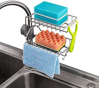 SKEIDO Stainless Steel Kitchen Faucet Sponge Holder, Shower Caddy Soap Dish Sink Organizer for Bathroom or Kitchen