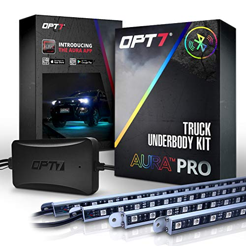 OPT7 Aura PRO Truck/SUV LED Underglow Bluetooth Enabled Lighting Kit with SoundSync Music - 4 Rigid Aluminum Waterproof Glow Bars - iOS & Android Enabled