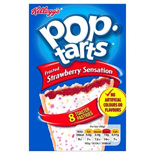 Kellogg's Pop Tarts Strawberry Sensation, US Frühstücksklassiker tür den Toaster, 8 Keksschnitten gefüllt mit Erdbeeren zum Toasten oder kalt Essen, 1 x 384 g, 384 g