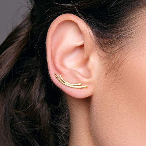 Gold minimalistische Ohr Manschetten Ohrringe aus sterling silber, handgemachter Schmuck von Emmanuela, minimale Ohrringmanschetten, gold Ohr Kletterer hypoallergene, earcuff, ear cuff
