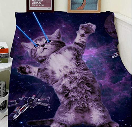 HBYMV Decken Komfort Wärme Weich Gemütlich Klimaanlage Pflegeleicht Maschinenwäsche Katze Sternenhimmel Augenlaser 150X200Cm