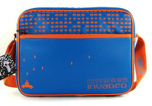 Joystick Jungrind 80er Space Invaders Retro Games Flight Bag HANDTAS tas INVADED blauw/oranje
