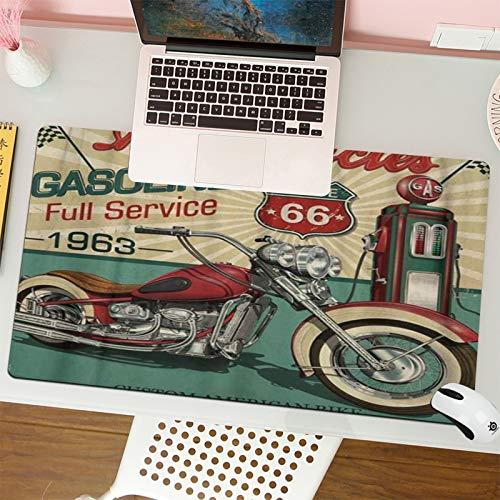 Alfombrilla para ratón (80x30 cm). Retro Vintage Gasoline Route 66 Motocicletas clásicas Biker Moto,Base Antideslizante. Especial para Gamer