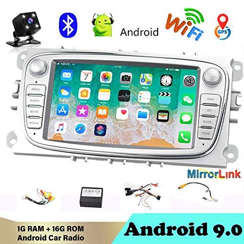 Autoradio Bluetooth 2 DIN 7'Android 9.0 Reproductor Multimedia de automóvil WiFi Navegación GPS Autoradio para Fo/rd/Focus/S-MAX/Mondeo 9 / GalaxyC-MAX con cámara de visión Trasera Plata