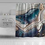 Qinunipoto Marble Texture Shower Curtain Abstract Liquid Graphic Waves Pattern Gold Foil Bath Curtain for Women Club Home Bathroom Decor Bathtub Waterproof Hole Grommet Metal and Rings 72x78inch
