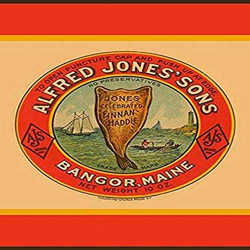 A bottle label for Alfred Jones Sons smoked haddock also called Finnan Haddie Packed in Bangor Maine this seafood had no preservatives and was sold under the AJB brand name The Sons came into the bu