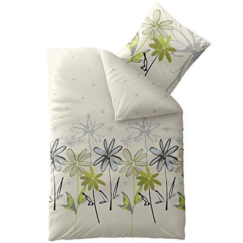 CelinaTex 0004427 Smart Bettwäsche Garnitur 155 x 220 cm 4-Jahreszeiten Bettbezug Mikrofaser Reißverschluss Design Amari Natur beige Blumen-Muster