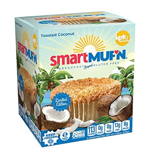 Smart Baking Company Smartmuf'n, Gluten-free, Sugar-free Keto Snack Breakfast Muffin (Coconut, 3 Boxes)