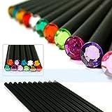 yalulu (12pcs/set) lápiz HB diamante lápiz de color lápices de los artículos de papelería dibujo Suministros Cute para escuela Tilo, oficina escuela Cute