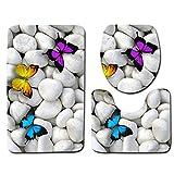Borlai 3 Piezas Alfombra de Baño Alfombra de Baño Antideslizante + Alfombra de Inodoro en Forma de U + Cubierta de Tapa de Inodoro Juego de Alfombra de Baño