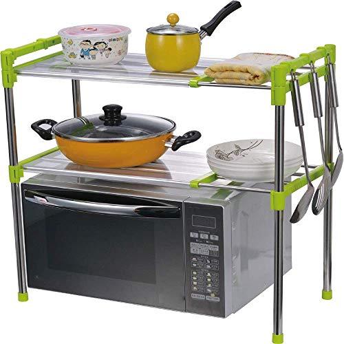 JINKEBIN Estante de cocina para mostrador de cocina de 2 niveles, estante de almacenamiento ajustable (color: plata, tamaño: 83 x 30,5 x 60 cm)