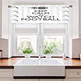 Adorise Window Curtain Valance Sport Play Keep Calm Quote Monochrome Rocket Ball Vintage Label Black White Grey Thermal Insulated Curtain Valance Elegant Atmosphere Brightens The Room 54 x 18 Inch