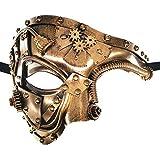 Ubauta SteamPunkPhantomofTheOperaVintageMasqueradeVenetianLuxuryMenMascarilla/Fiesta/FancyBall/Prom/Mardigras/Wedding/WallDecoration(Gold)