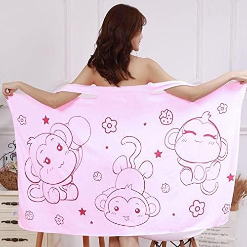 IAMZHL Toalla de baño usable Albornoz de baño de Fibra extrafina Toalla Absorbente Suave para el hogar Toallas de Playa de SPA amigables con la Piel Textiles para el hogar-Pink monkey-1-b12