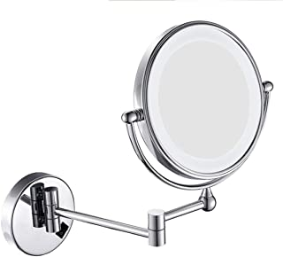 Makeup Mirror Wall Mounted Makeup Mirror Lighted, Bathroom Shaving Mirror LED Illuminated Makeup Mirror with 1X 3X Magnifying, Adjustable and Extendable Double Sided