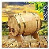Barril de Roble, Dispensador de Barril de Vino de Madera de Estilo Vintage 15L para Licores de Vino de Whisky (Color : Natural, Size : 15L)