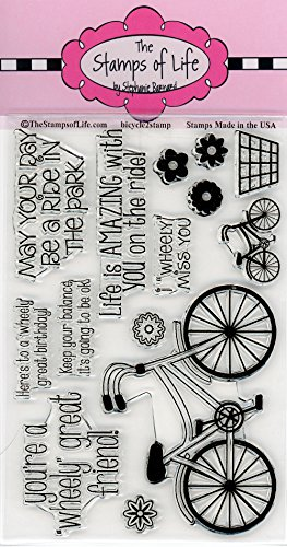 Bicycle Sentiment Stamps for Card-Making and Scrapbooking Supplies by The Stamps of Life - Bicycle2Stamp