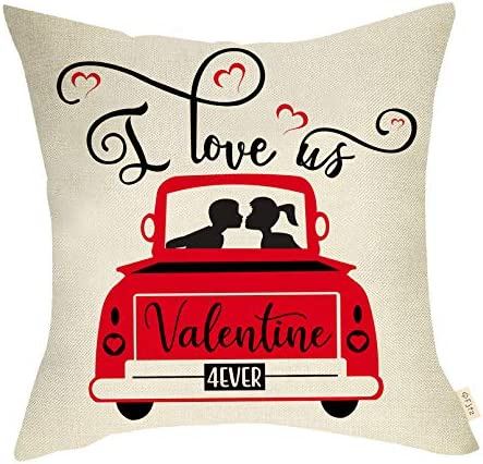 Fjfz Valentines Day Farmhouse Decorative Throw Pillow Cover Vintage Red Truck Sign I Love Us product image