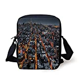 City,Avenues Converging Towards Midtown in New York America Architecture Aerial,Marigold Grey Black Print Kids Crossbody Messenger Bag Purse