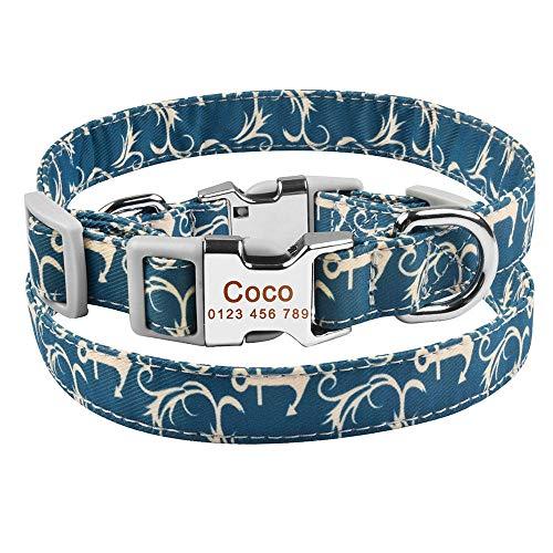 Productos de Nailon Ajustables Collares para Perros Etiqueta de identificación con Nombre Grabado Personalizado Cachorro Mediano Grande Unisex Collar para Perros Collar Personalizado para Perro