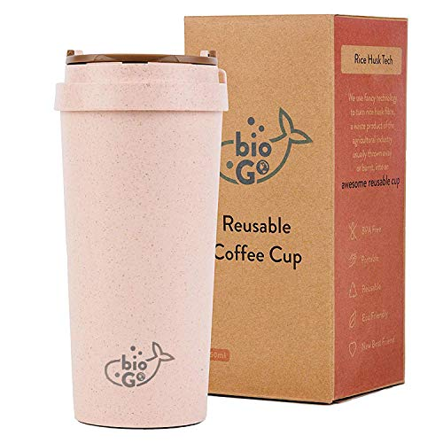 bioGo Cup, Rice Husk Fibre, BPA-Free, Double Wall Insulation Reusable Coffee Cups, On-The-Go Travel Mug, Screw Tight Lid, Textured Grip, Ultra Lightweight (Faded Pink, 16oz)