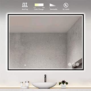 LED Lighted Makeup Mirror for Bathroom Vanity with Fogless Waterproof Glass & Dimmable, Color Temperature Adjustable LED Lighting. Wall Mounted Smart Mirror. (48 Inch x 36 Inch Black Frame)