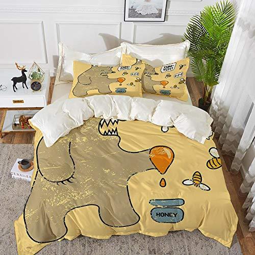 Juego de cama, microfibra,Dibujos animados, lindo oso de estilo caricatura con abejas y miel diciendo Yum Yum Kids Comic Graphic, Bla,1 juego de funda nórdica 200 x 2002 fundas de almohada 50x80cm