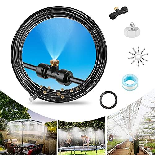 infinitoo Sprühnebel Kühlung Bewässerungssystem Garten,12M Tropfbewässerungssystem Micro Drip Bewässerung Outdoor Mist Cooling System für Garten,Gewächshäuser,Trampolin,Wasserpark