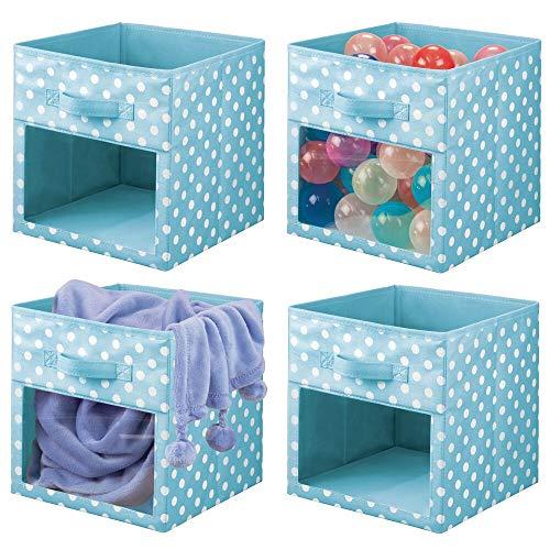 mDesign 4er-Set Aufbewahrungsbox aus Stoff – Schrankbox für Babykleidung, Decken, etc. – gepunktete Aufbewahrungskiste mit Griff und Sichtfenster – türkisblau/weiß gepunktet