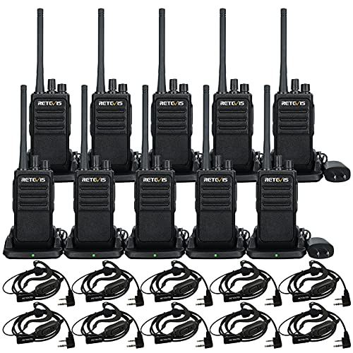 Retevis RT17 Walkie Talkie for Adults,Two Way Radio with Earpiece,1200mAh Large Capacity Battery, 2 Way Radios Rechargeable with Charger Base,for School Restaurants Church Construction(10 Pack)