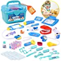 BRITENWAY Educational Doctor Kit Medical Pretend Play Toy Set in Storage Box 34 Pcs – Battery Operated Tools with Lights & Sounds – Promote Learning, Hand to Eye Coordination, Fine Motor Skills