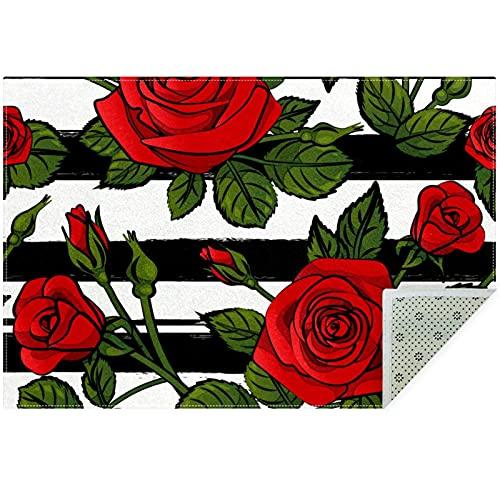 Bennigiry Blooming Red Roses - Alfombra para sala de estar, dormitorio, sala de juegos, 160 x 119 cm
