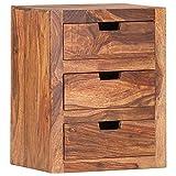 Tidyard Nachttisch mit 3 Schubladen Nachtschrank Nachtkommode Nachtkonsole Nachtschränckchen Kommode Schrank Schlafzimmer Sheesham-Holz Massiv 40x30x50cm