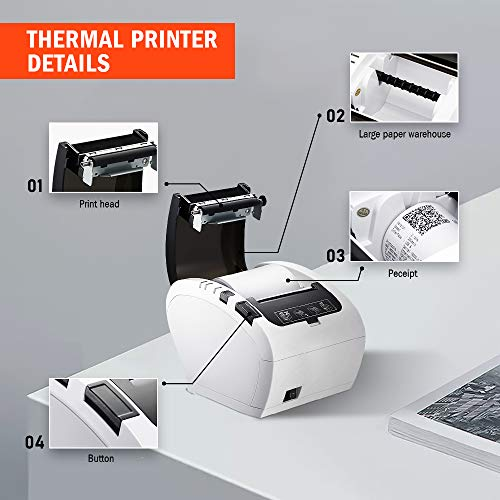 MUNBYN Impresora de Ticket Térmica USB, Impresora de Recibos 80mm, Ticketera Velocidad 300mm/s ESC/POS Compatible con Android/Windows, Blanca