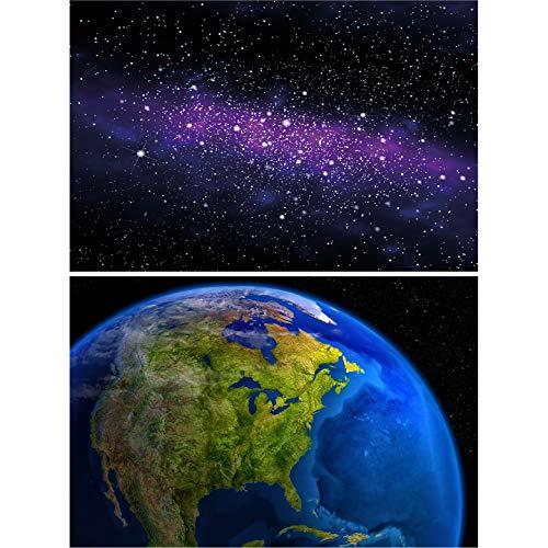GREAT ART 2er Set XXL Poster – Galaxy – Milchstraße & Planet Erde Amerika am Tag Universum Weltall Globus Satelliten Bild Sterne Weltkugel Dekoration Foto Wanddeko (140 x 100cm)