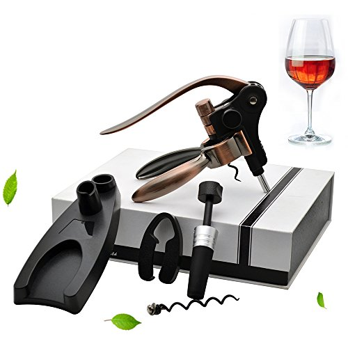 Aonesy Wine Bottle Opener, All-In-One Manual Rabbit Corkscrew Set - 8 Piece Bundle with Stand, Wine Stoppers, Foil Cutter, EXTRA Spiral - Great Set for Women and Men