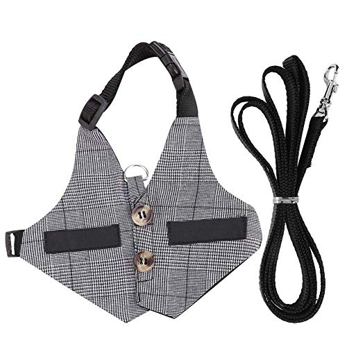 HEEPDD Rabbits Harness and Leash Set Gentlemanly Style Bunny Vest with Button Decor Small Animal Adjustable Soft Harness for Walking Jogging(L)